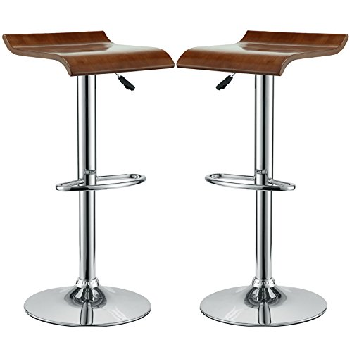 Modway Bentwood Retro Modern Piston Bar Stools in Oak - Set of 2 ()