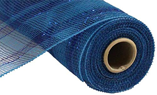 Plaid Metallic Deco Poly Mesh Ribbon - 10 inch x 30 feet (Blue)