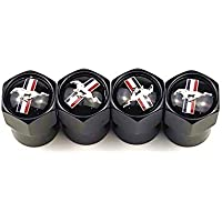 SOLDOUT™ Car Tyre Air Valve Caps Wheel Dust & Water Proof Tire Stems Cover with Logo Emblem For Ford Mustang (Black)