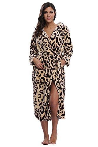 a4142b20e5 Kimono Outlet Women s Animal Print Cozy Plush Robe Hooded Bathrobe