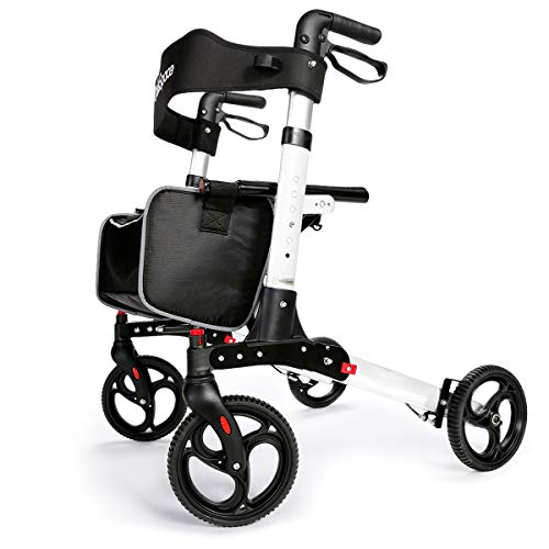 OasisSpace Ultra Folding Rollator Walker with Wide Seat 8 inches Antiskid Wheels Compact Design Baking Finish Walkers for Senior (White)