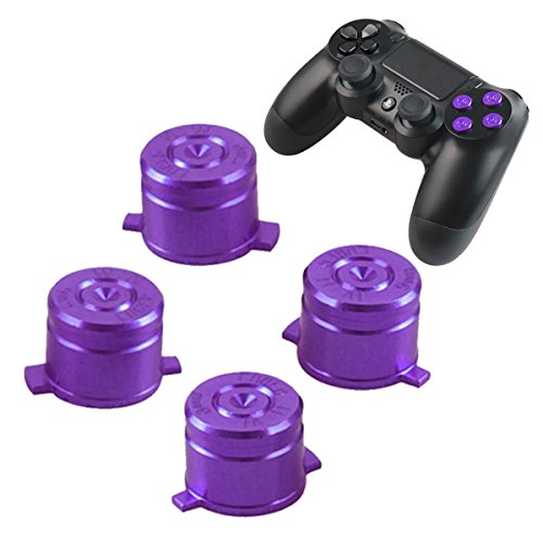 PS4 Bullet Buttons Aluminum Custom Metal Playstation 4 DualShock 4 Replacement Standard Buttons Spare Parts Accessories for Modded PS4 Controllers Bullet Purple