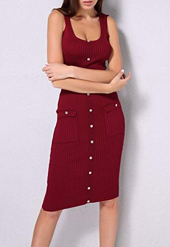 Party Sleeveless Knee Length Dress Square Buy Bodycon Value Go Red Knitted Go Fashion Women's Button Pocket Go B8fqP