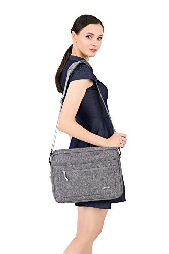 MOSISO Polyester Messenger Laptop Shoulder Bag Compatible 11.6-13.3 inch MacBook Air, MacBook Pro, Notebook Computer, Briefcase Handbag Carrying Case Cover with Adjustable Depth at Bottom, Gray by MOSISO (Image #7)