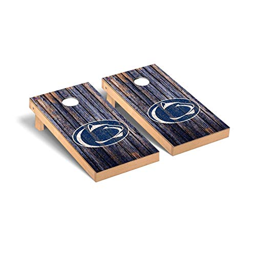 Victory Tailgate Regulation Collegiate NCAA Weathered Series Cornhole Board Set - 2 Boards, 8 Bags - Penn State PSU Nittany - Collegiate Bean Nittany Lions Bag