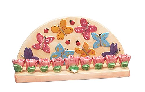 (Hanukkah Menorah for Candles Butterfly for Chanukah Party Ceramic)