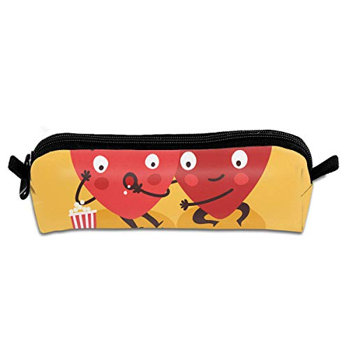 EWFBVa Durable Zipper Stationery Bag Couple in Love. Two Happy Hearts Watching TV Together Big Capacity Pencil ()