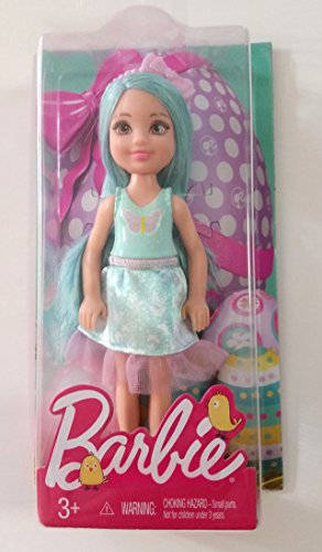 Chelsea Doll, 5.5 inches Tall, Aqua Hair and Pink Ribbon Headband, 2017 Easter Edition, with Pink Butterfly on Light Blue Tank a (Aqua Barbie Shoes)