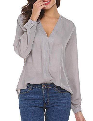 ELOVER Womens Chiffon V Neck Blouse Casual Long Sleeves Loose Top Grey (Nice Clothes For Women)
