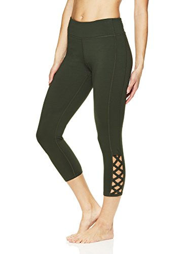 Gaiam Women's Capri Yoga Pants - Performance Spandex Compression Legging - Dufflebag, X-Large by Gaiam