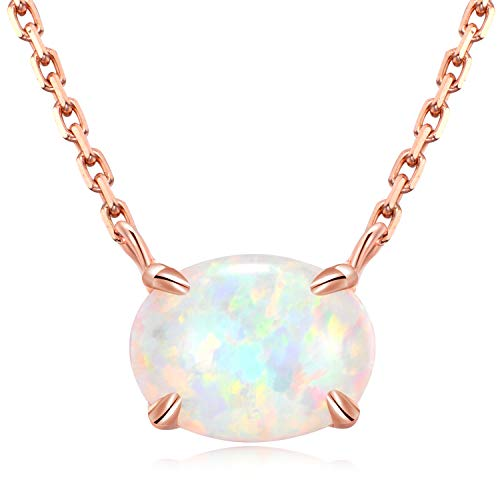 Ellena Rose Sterling Silver Opal Necklace, 925 Sterling Silver & 14K White Gold Plating, October Birthstone Necklace, Small Oval Opal Jewelry for Women, Gemstone Necklace, Simple Necklace (Rose Gold)