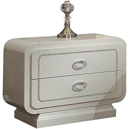 Benjara Benzara Wooden Storage Nightstand with Crystal Trim, Ivory,
