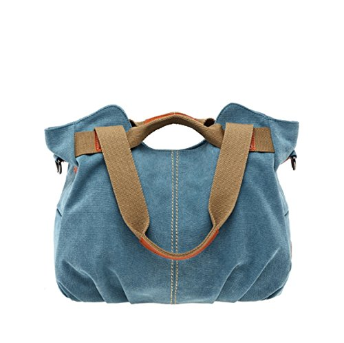 JSBKY Women's Ladies Vintage Casual Hobo Canvas Daily Purse Top Handle Shoulder Tote Shopper Handbag (blue)