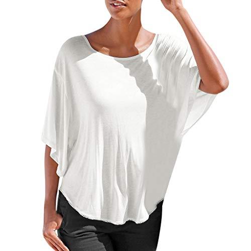 Yezijin_Women's Wear Womens Summer Short Batwing Sleeve O Neck Solid Slim Fit Tee Shirt Top Blouse Summer Casual Tank 2019 White