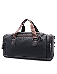 Toupons Fashion Top PU Leather Men's Travel Luggage Tote Sports Weekend Duffel Bag (Black)