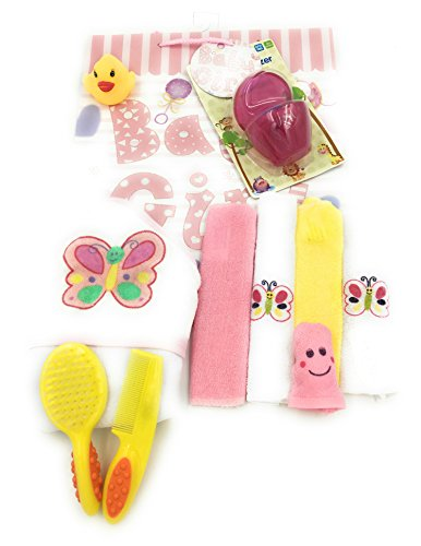 10 pc Baby Butterfly Theme Bath Kit includes, Hooded Towel, washcloths, bath puppet, toy duck and Baby Shower Gift bag with tissue.