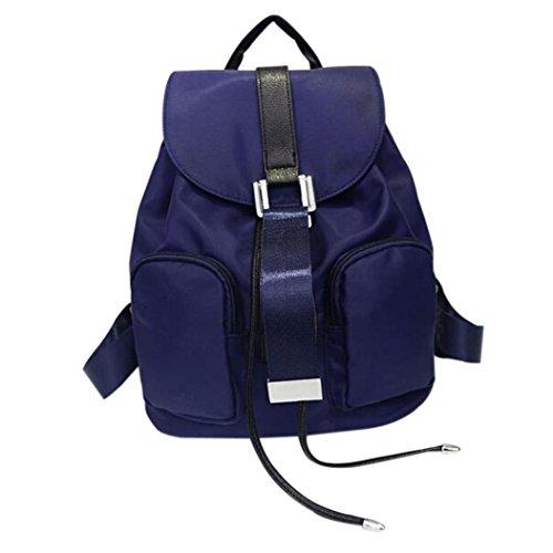 Clode® Chicas chicos Nylon escuela bolso viaje mochila impermeable mujer bolsa de hombro Azul