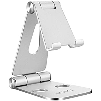 Criacr Cell Phone Stand, Foldable Charging Stand for Nintendo Switch, Multi-Angle Tablet Holder, Cradle, Adjustable Aluminum Portable Charger Dock for Video, iPhone, Samsung, iPad, Laptops, etc.