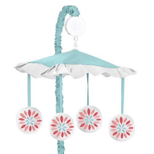 Sweet Jojo Designs Musical Baby Crib Mobile for Modern Turquoise and Coral Emma Collection by Sweet Jojo Designs