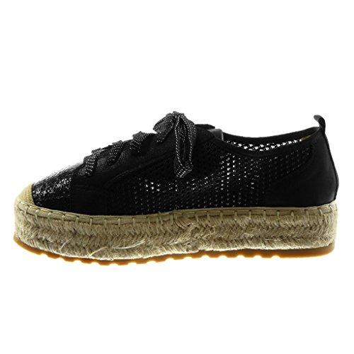 5 Femme Plat Cm Perforée Plateforme Talon Espadrille Baskets Brillant Mode Noir 3 Angkorly Corde Chaussure BCXq77