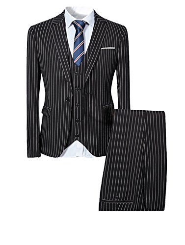 Mens Pinstripe 3 Piece Slim Fit Suit Smart Wedding Blazer Jacket Tux Vest & Trousers