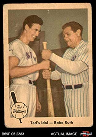1959 Fleer 2 Teds Idol Ted Williamsbabe Ruth Boston Red Sox Baseball Card Deans Cards 15 Fair Red Sox