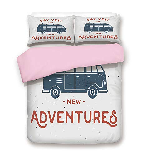 Pink Duvet Cover Set,Twin Size,New Adventures Typography with Little Van Hippie Lifestyle Free Spirit,Decorative 3 Piece Bedding Set with 2 Pillow Sham,Best Gift For Girls Women,Cadet Blue White