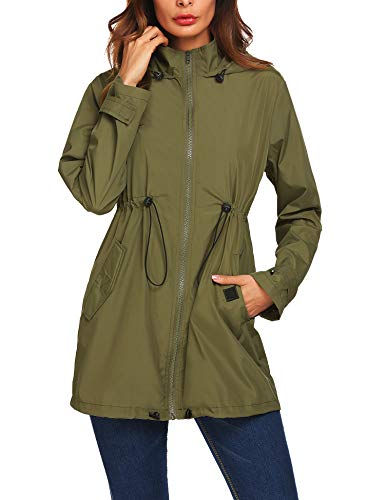 (Mofavor Women's Lightweight Windbreaker Waterproof Long Rain Hooded Jacket with Drawstring Army Green L)