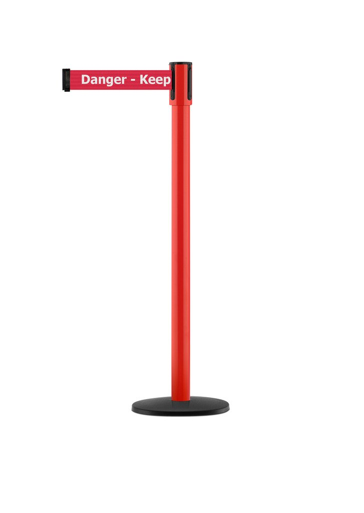 Tensabarrier - 890B-33-21-21-STD-NO-RHX-C - red post, 2'' wide, 7'6'' length red Danger Keep Out belt