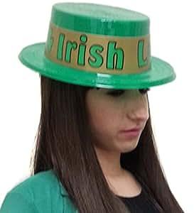 Suerte del Skimmer Sombrero irlandés - verde brillante Skimmer Sombrero Con suerte del irlandés Inscripción