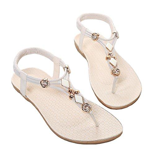 Good Night Women Summer Elastic T-strap Bohemia Beaded Flat Sandals Beach Shoes White 8k2yg