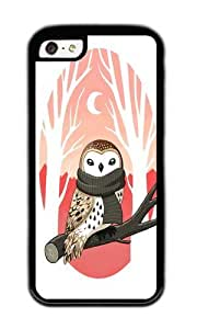 Apple Iphone 5C Case,WENJORS Adorable Winter Owl Soft Case Protective Shell Cell Phone Cover For Apple Iphone 5C - TPU Black