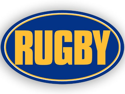 American Vinyl Oval Blue and Yellow Rugby Pegatina (Car Bumper Decal)