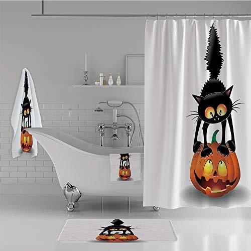 iPrint Bathroom 4 Piece Set Shower Curtain Floor mat Bath Towel 3D Print,Pumpkin Spooky Cartoon Characters Halloween,Fashion Personality Customization adds Color to Your Bathroom. -