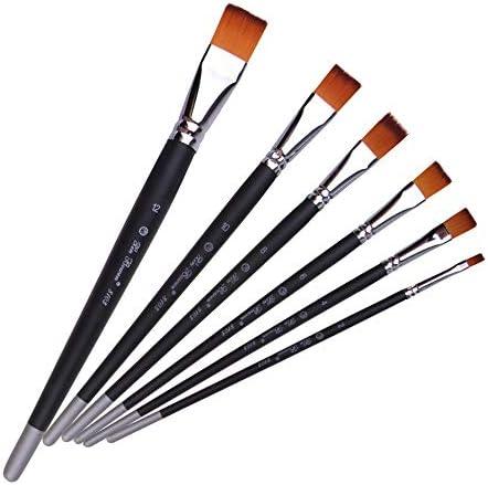 絵筆 セット ナイロンウッド電着銅管フラットピーク水彩アクリルブラシセット 初心者、アーティスト、学生に適しています (Colo