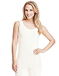 Cuddl Duds Women\'s Softwear with Stretch Tank, Ivory, Small