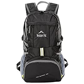 Venture Pal Lightweight Packable Durable Travel Hiking Backpack Daypack 8 DURABLE. This Venture Pal Backpack is made with high quality tear and water resistant material, provides extra strength and long-lasting performance with the lightest weight possible. The extra strength provided by the double-layer bottom piece makes it very convenient to carry more load on your journeys. Heavy duty two-way SBS metal zippers across the backpack are convenient to operation on whichever side you prefer. Longevity is further enhanced by bar-tacks at major stress points. COMFORTABLE. Breathable mesh shoulder straps with plentiful sponge padding help relieve the stress from your shoulder. The length of the shoulder straps is adjustable. The chest strap with a whistle buckle help you lock your backpack in place securely. MULTI COMPARTMENTS and KEEP THINGS ORGANIZED. This backpack features one main zipped compartment, two zipped front pockets and two side pockets. The main compartment provide enough room (35 liters) no matter if it's a day trip or a week long journey. Two separators in the main compartment are convenient enough to help you further organize things. The two front pockets are good for holding small accessories and for easy access. Two side pockets are good for holding water bottles and umbrellas.