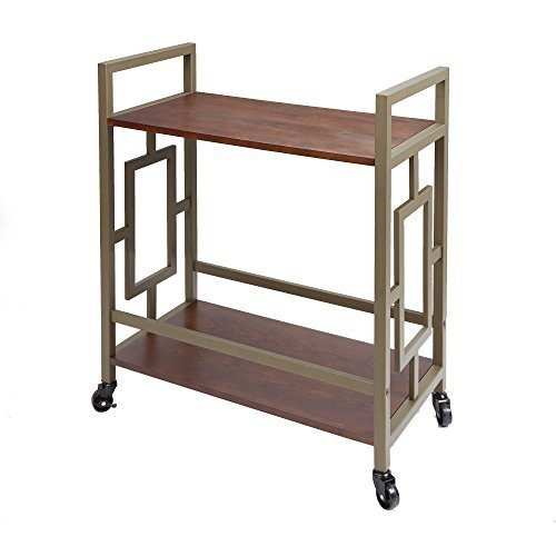 Silverwood FS1195-HG-COM Emerson 2-Tier Bar Cart 2, 14.5'' L x 28'' W x 32.25'' H by Silverwood