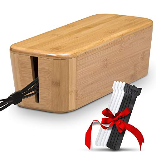 anagement Box - Stylish Cord Organizer Box Hides Power Strip and Keeps Cords Untangled - Surge Protector Cover Keeps Children Safe - Eco-Friendly TV Cord Box for Home and Office ()