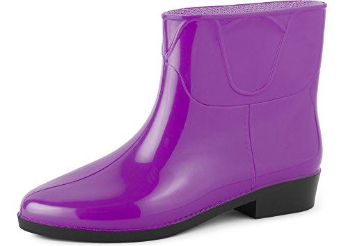 Ladeheid Women's Ankle Rubber Wellington Boots LAZT201801 Purple