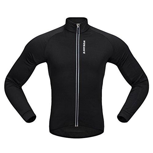 Dovewill 保温性 ブラック サイクリング ジャケット 自転車 長袖 ジャージー マウンテンバイク キャンプ  全5サイズ