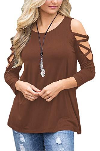 Brown Long Sleeve Top - LUOUSE Women's Hollowed Out Shoulder 3/4 Long Sleeve Casual Tunic Blouse Loose T-Shirts Tops Brown