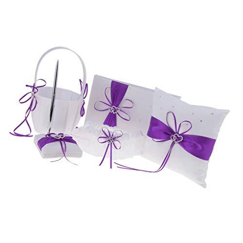 BROSCO Shiny Heart Bow Wedding Set Flower Girl Basket Ring Pillow Garter Guest Book Pen | Color - Purple