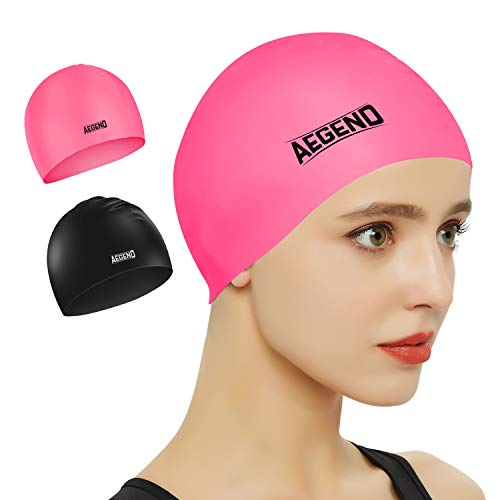 aegend 2 Pack Swim Cap, Durable Silicone Swimming Caps for Long Hair Short Hair, Adult Youth Women Men, Black Pink