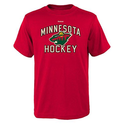 Outerstuff NHL Minnesota Wild Boys Open Net Short Sleeve Tee, Large/(14-16), Red (Youth Sport Team T-shirt)