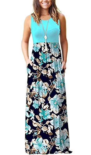 AUSELILY Women's Summer Sleeveless Loose Plain Maxi Dress Casual Long Dress with Pockets (M, Light Blue)