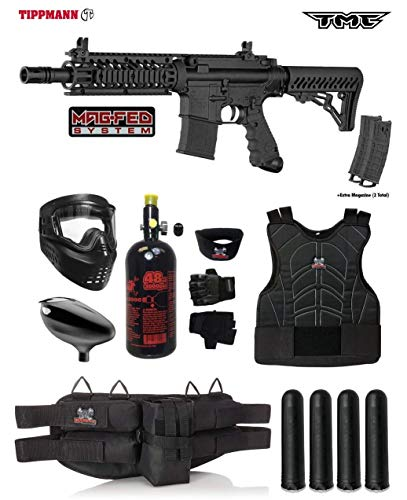 Tippmann TMC MAGFED Starter Protective HPA Paintball Gun Package - Black/Black