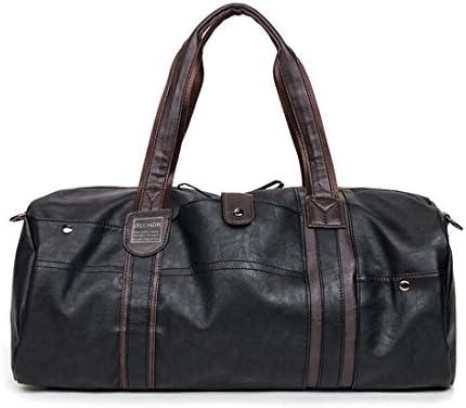 Premium New Women Men Gym Sports Travel Barrel Shoulder Bag Handbag Black /& Gray