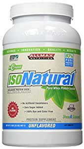 ALLMAX ISONATURAL Whey Protein Isolate, 90% Pure Protein, Amazing Taste Dietary Supplement, Unflavored, 2 Pound