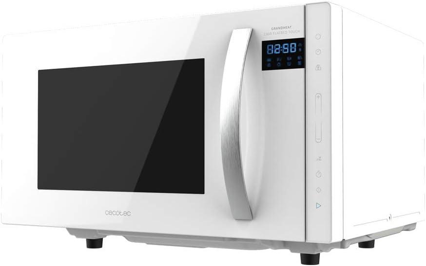 Cecotec Microondas sin plato GrandHeat 2300 Flatbed Touch White. Capacidad 23 litros, Potencia 800 W, 8 Funciones preconfiguradas, Temporizador hasta 95 min